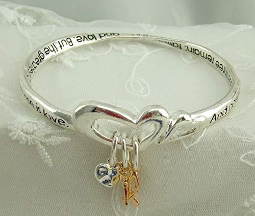 1 Corinthians 13:13 Bangle Bracelet For Women Fish Cross Heart Charms Fashion Jewelry NEW