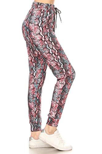 Leggings Depot JGA-S706-M Scarlet Snake Printed Jogger Pants w/Pockets, Medium ()