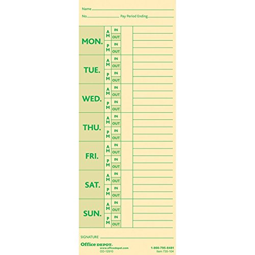 Office Depot Card - Office Depot Time Cards with Deductions, Weekly, Monday-Sunday Format, 2-Sided, 3 3/8in x 8 7/8in, Manila, pk of 100, GB-735104