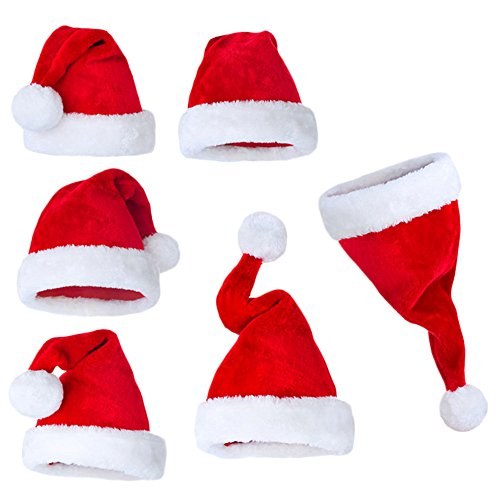[Christmas hat or Nice Festive Holiday Hat Velvet Santa Hat with Plush Trim (6-pack)] (Dog Grinch Costumes)