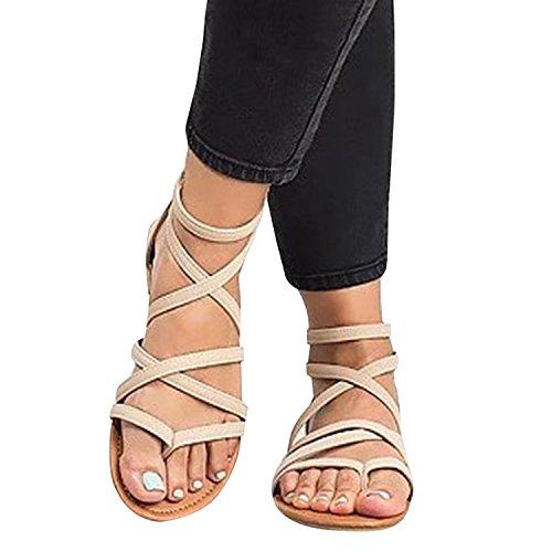 Sandales Gladiateur Strappy Womens Coutgo Flip Flop Casual Chaussures Dété Beige