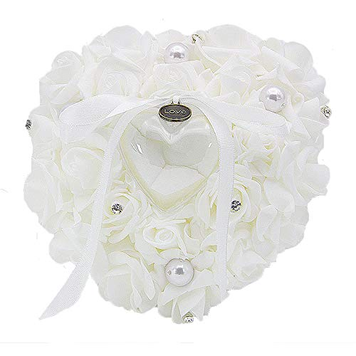 EDOBLUE Ring Bearer Pillow Lace Crystal Rose Heart Flower Wedding Ring Box Mariage ()