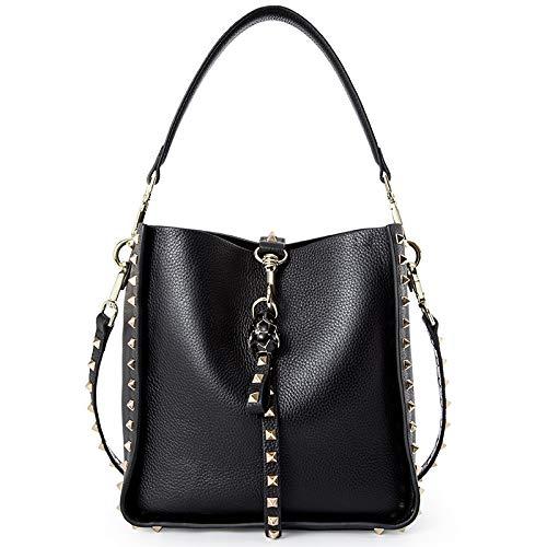 Black AI BAO Women's Spring Summer Leather Bucket Bag Large-Capacity Shopping Bag Shoulder Diagonal Tote Handbag