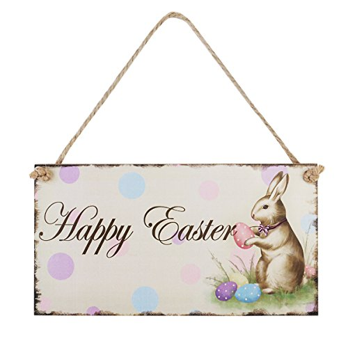 OULII Easter gift Happy Easter Plaque Wooden Rabbit Hanging