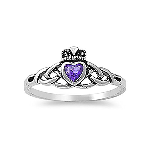 Blue Apple Co. Celtic Knot Irish Dublin Claddagh Ring Simulated Purple Amethyst 925 Sterling Silver