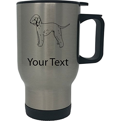 (Custom Personalized Bedlington Terrier 14 Ounce Silver Stainless Steel Travel Coffee Mug with Handle )