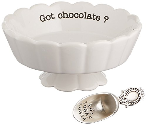(Mud Pie 4881012G Got Chocolate Scalloped Candy Dish, White)