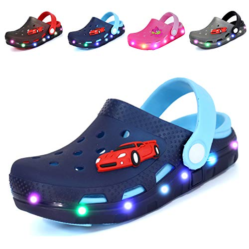 Nishiguang Kids Cute LED Flash Lighted Garden Shoes Clogs Sandals Children Boys Girls Toddlers Summer Breathable Slippers Navy/Blue 22 -