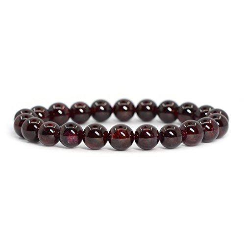Garnet Crystal - Natural Red Garnet Gemstone 8mm Round Beads Stretch Bracelet 7