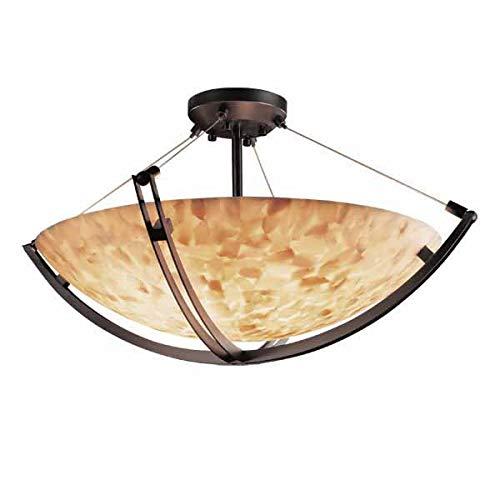 Justice Design Group ALR-9712 - Crossbar 24'' Semi-Flush Bowl - Round Bowl Shade - Dark Bronze (Semi Bowl 24' Flush Round)