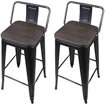 Amazon Com Gia Black 24 Quot Metal Stool With Wooden Seat Set