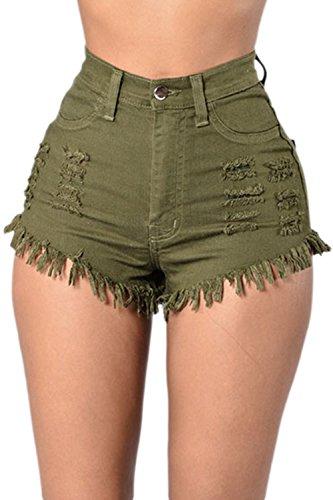 Le Donne Estate Casual Alta Vita Irritante Cenciosa Jeans Sexy Shorts Pantaloni Verde