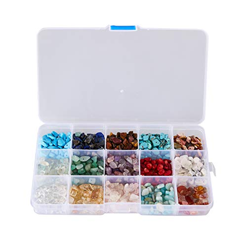 Gemstone Beads - 675-Piece Chakra Gemstone Beads, Chip Beads, Crystal Stone Beads, Gemstone Charm, Natural Chips Stones, for Accessories Bracelets Necklaces Jewelry Making, Assorted Sizes