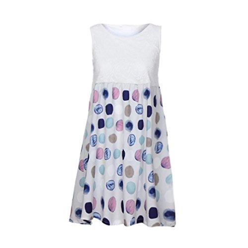 UOFOCO Summer Dress Women's Mini Dress Beach Lace and Printing Sleeveless Dress Party (1980's Womens Mini)