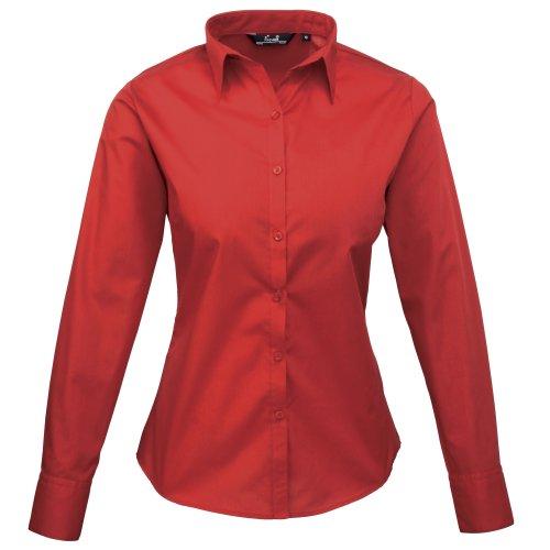 Premier Frauen/DamenPopeline Bluse / Schlichtes Arbeitshemd lang�rmelig (46)(Size:18) (Rot) DE 46,Rouge