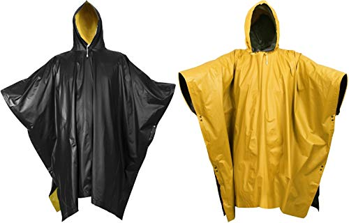 - Reversible Waterproof Rain Poncho High Visibility PVC Thick Outdoor Hood & Snaps (Black to Yellow)