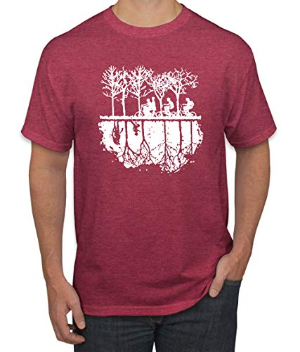 (Upside Down Bike Silhouette | White | Mens Pop Culture Graphic T-Shirt, Vintage Heather Red, Small)