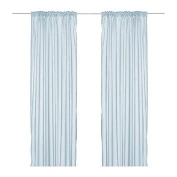 IKEA Set rideaux Vivan - 2 Rideaux Bleu clair en 300 x 145 cm avec ...