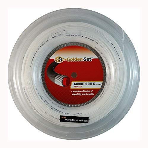 (Golden Set Synthetic Gut 17g (1.30mm), Reel (660ft/200m), Tennis String (White))