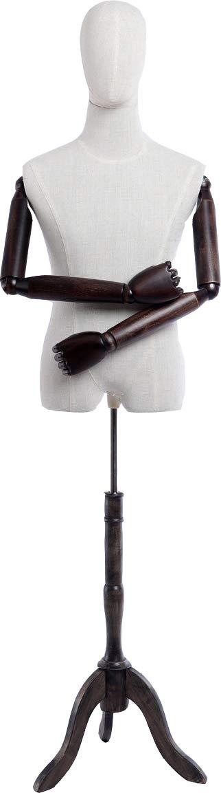 B-17T-G weiblich piel sint/ética marr/ón a de 9/de T de G macho Euroton pantalla Maniqu/í, piel sint/ética stoffbezogene tronco y cabeza, brazos y dedos de madera beliebig ajustable, soporte de madera oscura