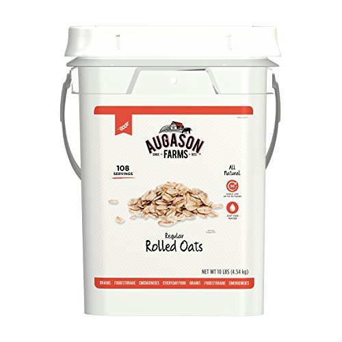Augason Farms Regular Rolled Oats Emergency Food Storage 10 Pound Pail