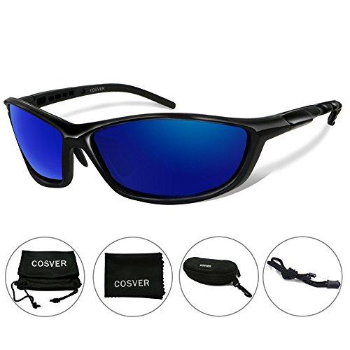 COSVER Polarized Sports Sunglasses for Men Women Cycling Running Driving Fishing Golf Baseball Glasses (Black&Black, clear)
