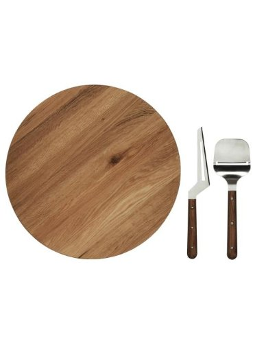 Sagaform Oval Oak Lazy Susan with Cheese Knives (Oak Wood Lazy Susan)
