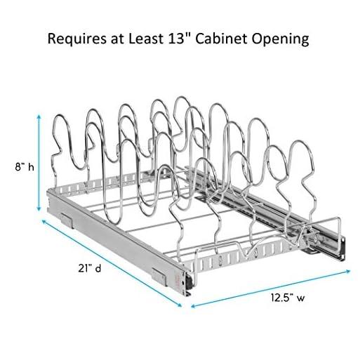 Kitchen Pull Out Pan Lid Organizer Rack for Cabinet – for Pots, Pans, Lids, Sliding Storage Holder Rack for Kitchen Cabinet -12… pot lid holders