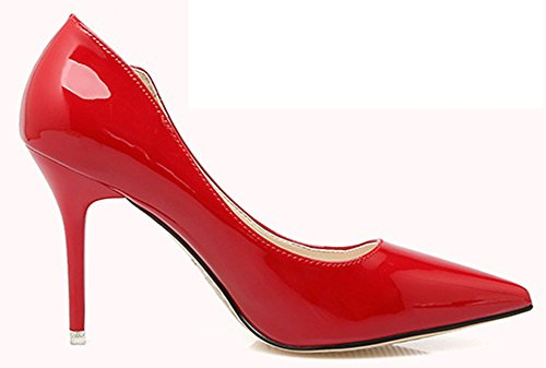 Easemax Womens Fashion Pointy Toe High Stiletto Heel Dress Pump Red