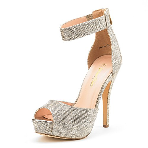 DREAM PAIRS SWAN-05 New Women's Ankle Strap Back Zipper Peep Toe High Heel Platform Pump Shoes,Gold Glitter,5 B(M) US
