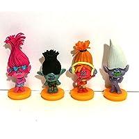 Set of 4 Trolls Cake Toppers and Keepsake Figurines