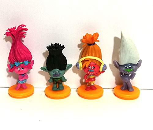 Set of 4 Trolls Cake Toppers and Keepsake Figurines