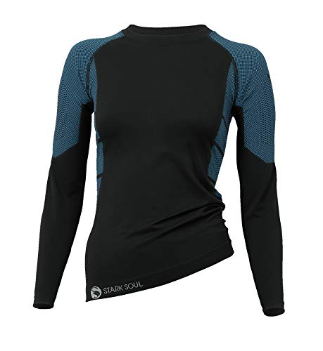 (Stark Soul Women's Functional Thermal Underwear Breathable Active Base Layer Set (Shirt/Black-Turquoise,)