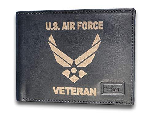 UA Air Force Vet Genuine Cowhide Leather Laser Engraved Engraving Slimfold Mens Large Capacity Luxury Wallet Purse Minimalist Sleek and Slim Black Credit Card Holder Organizer 14 Pockets