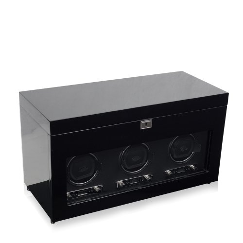 WOLF 454770 Savoy Triple Watch Winder with Cover and Storage, Black by WOLF