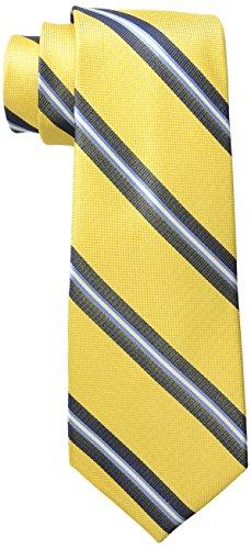 Tommy Hilfiger Men's Oxford Rib Stripe Tie, Yellow, One ()