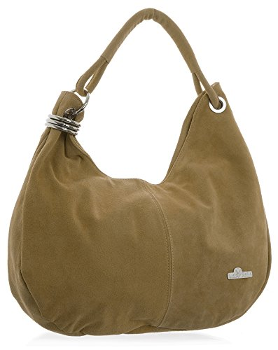 LIATALIA - Womens Girls Large Real Italian Suede Leather Single Strap Hobo Boho Slouch Handbag Purse - FIONA [Light Tan] ()