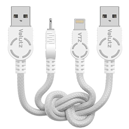 Volutz iPhone Charger Lightning Cable - Apple MFi Certified 2-Pack, 6ft Braided iPhone Cords for iPhone X, 8, 8 Plus, 7, 7 Plus, 6s, 6s, 6 Plus, SE, 5s, iPad Mini, iPad Air, iPad Pro – Ghost-White