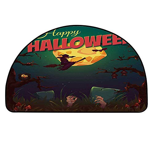 MOOCOM Halloween Semicircle Rug,Happy Halloween Poster Design Witch on Broom Mushroom Dead Resurgence Vintage Decorative Floor Mat,19.6