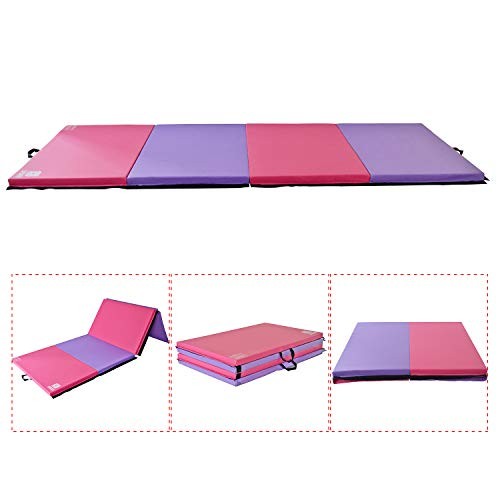 IKON MOTORSPORTS Modern-DEPO Gymnastics Mat 4 Panels Folding 4'X10'X2 with Handle, Hook Loop, Waterproof Cover, 100% EPE Core (Pink and Purple