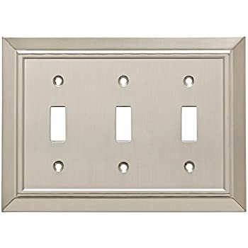 Franklin Brass W35225-SN-C Classic Architecture Triple Toggle Switch Wall Plate/Switch Plate/Cover, Satin Nickel
