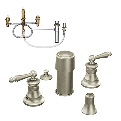 (Moen KBWA-D-TS415BN Waterhill Two-Handle Bidet Faucet, Brushed Nickel)