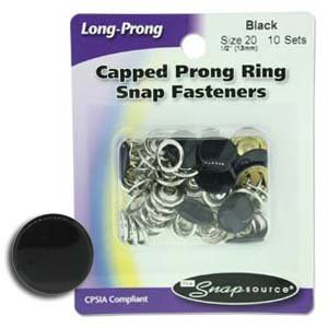 Snap Size 20 Fasteners, Capped Prong Black Color - 10 Sets