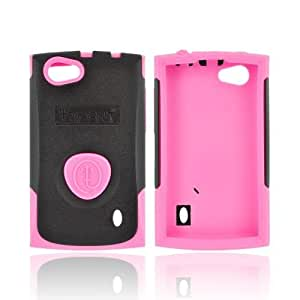 OEM Trident Aegis LG Optimus M+ Hard Cover Over Rubbery Feel Silicone Case W/ LCD Screen Protector - Pink/ Black