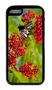 make covers Butterfly Fruits TPU Black Case for iphone 5C