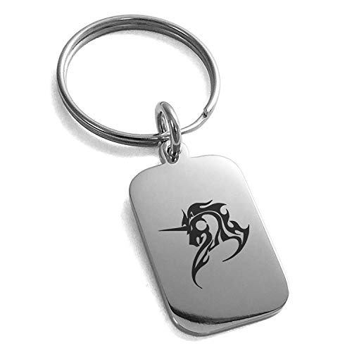 Tioneer Stainless Steel Tribal Unicorn Small Rectangle Dog Tag Charm Keychain Keyring