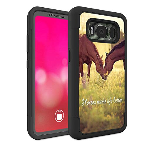 Galaxy S8 Active Case, Rossy Heavy Duty Hybrid TPU Plastic Dual Layer Armor Defender Protection Case Cover for Samsung Galaxy S8 Active,Horse Theme