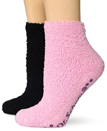 Dr. Scholl's Women's 2 Pack Spa Low Cut Socks With Treads,  Pink/Black, Shoe: 4-10