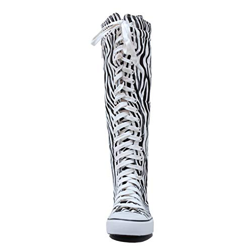Knee West Zebra Canvas Lace wb Up High Sneaker Boots Womens Blvd CCUPHtqg