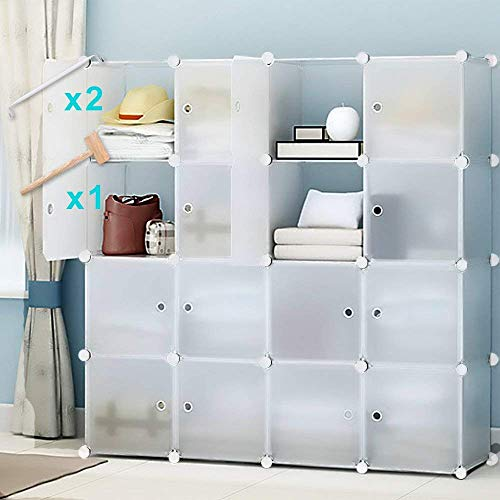 Honey Home Cube Storage Organizer, Portable Cube Closet for Bedroom, DIY Modular Cabinet Shelving Storage Organizers Plastic Closet with Easy closed Doors- 16 (Modular Storage Shelving)